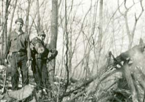 CCC workers clearing trails in the forest.