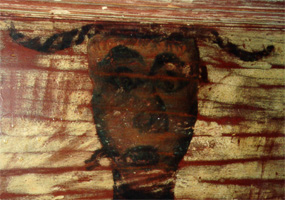 Rough drawing of an African-American female found under layers of paint during the renovation of a home in Thurmont, MD.