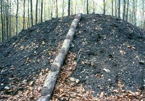 The stacked wood is covered with dirt and leaves prior to burning.