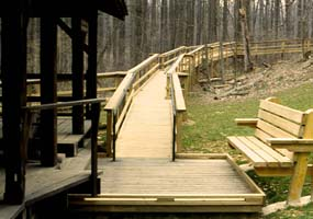 An accessible boardwalk and a bench provide for easy access.