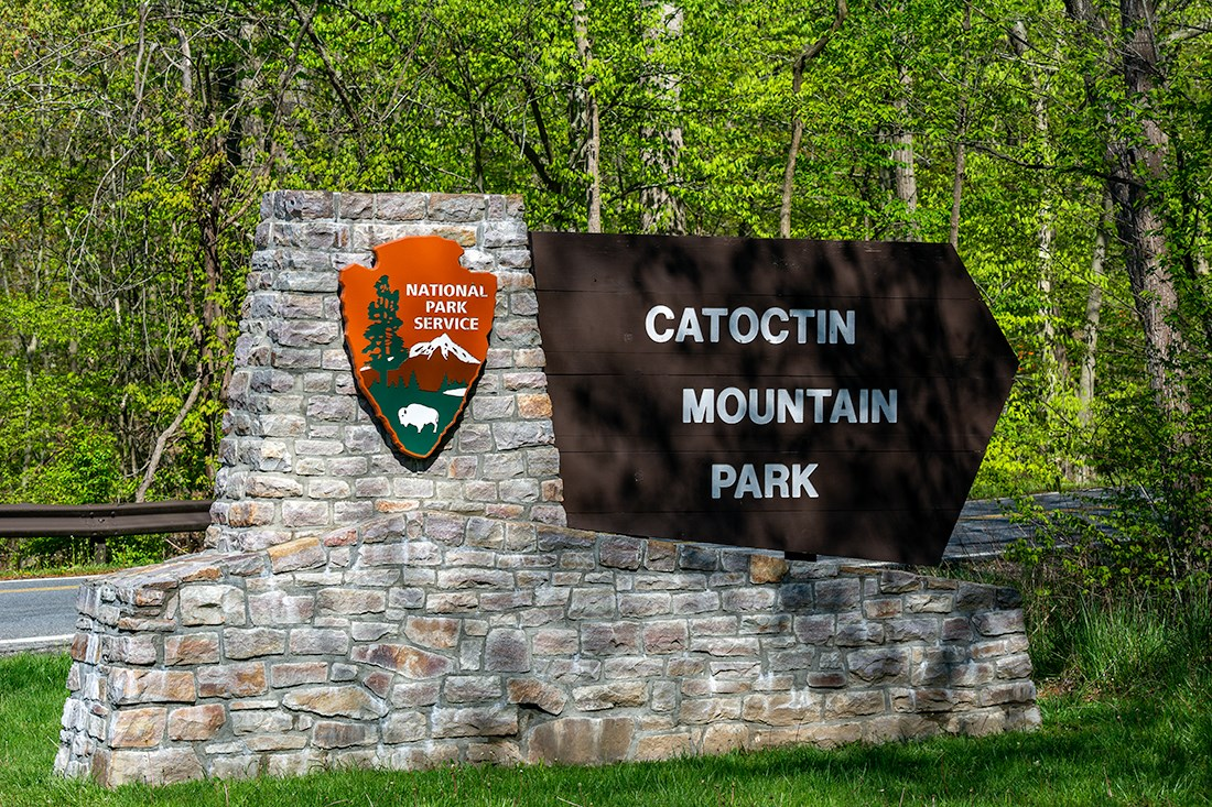 Stone and Wood Sign for Catoctin Mountain Park