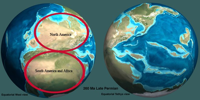 Image of globe showing collision of South America and Africa with North America.