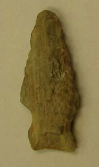 Photo of an arrowhead. If you find an artifact, should you leave it in place and tell a ranger?
