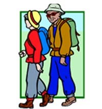 Picture of two hikers walking in single file on a trail. Should you Stay on the trail, walk in single file and not take shortcuts?