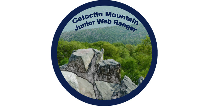 Catoctin Mountain Junior Web Ranger symbol with image of Chimney Rock