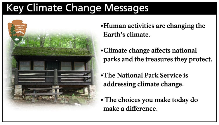 Human activities are changing Earth's climate. Climate change affects national parks and the treasures they protect. The National Park Service is addressing climate change. The choices you make today do make a difference.