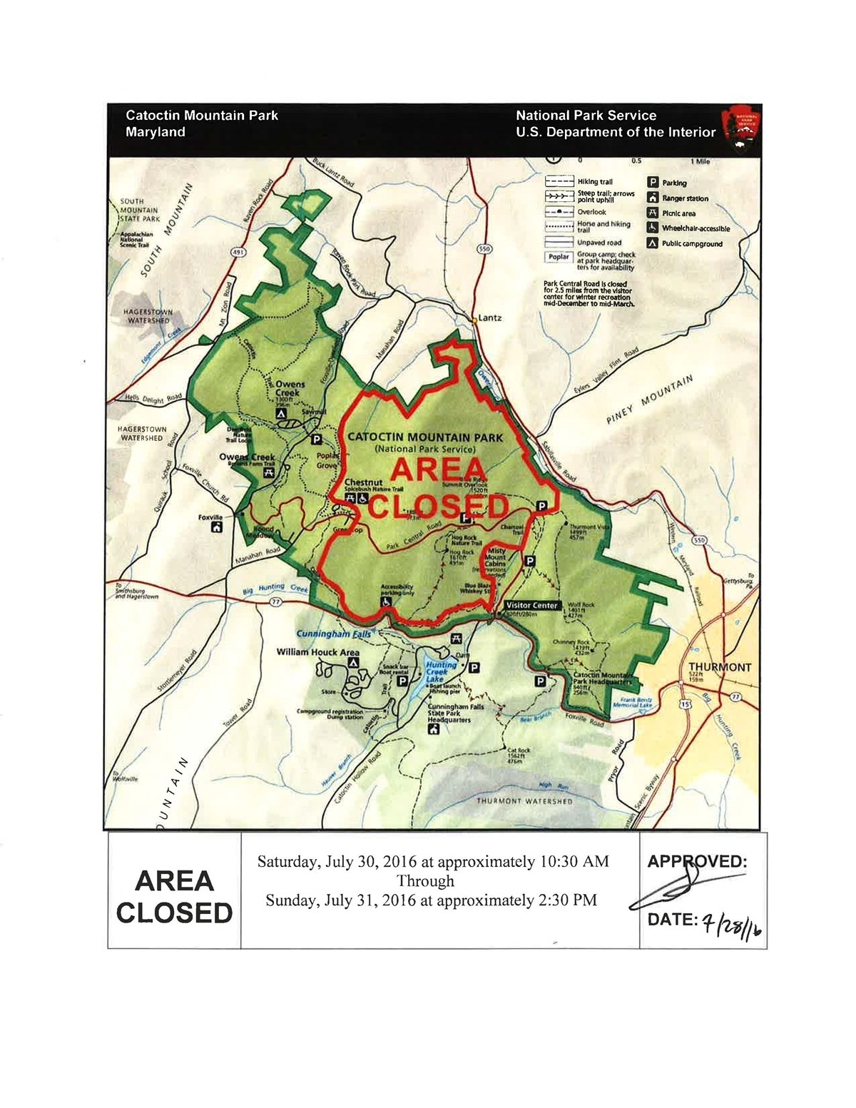 Map of Catoctin Mountain Park showing closed areas