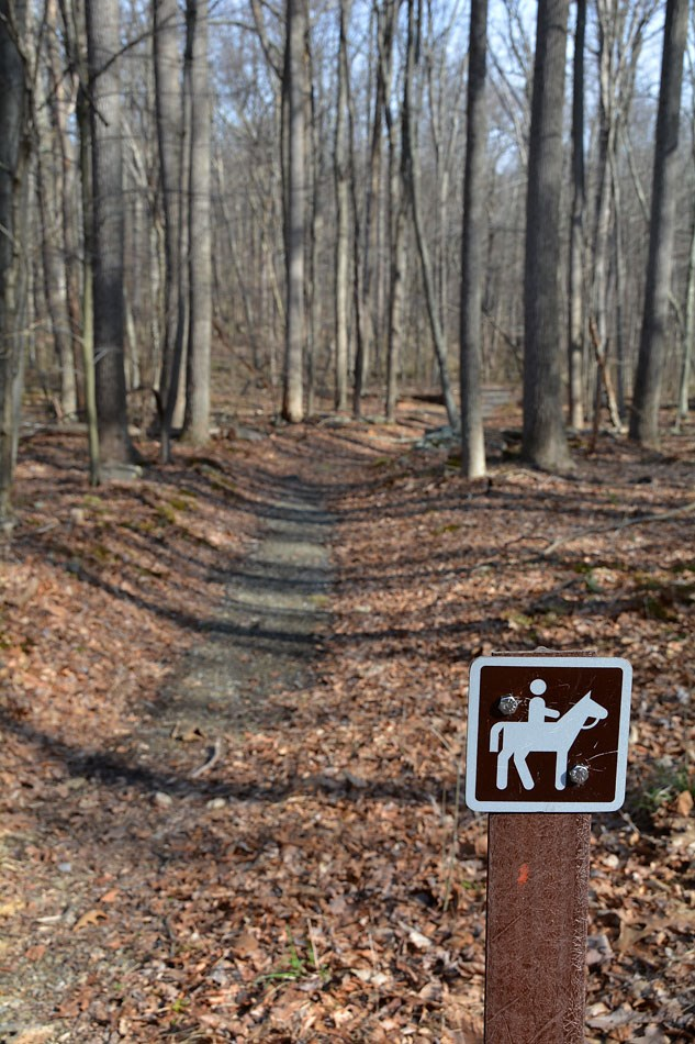 Image of Horse Trail and Sign Click to Visit Catoctin National Recreation Trail