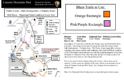 Image of VC to Chimney Rock to Wolf Rock to Thurmont Vista Hiking Guide Click to Enlarge
