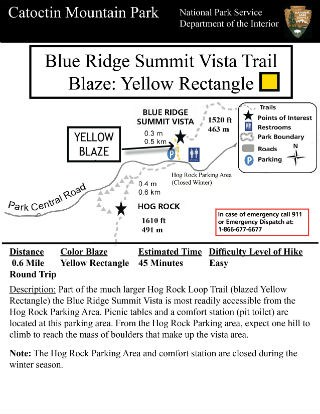 Image of Blue Ridge Summit Vista Hiking Guide - Click to Enlarge