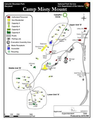 Image of Camp Misty Mount Map - Click to Enlarge