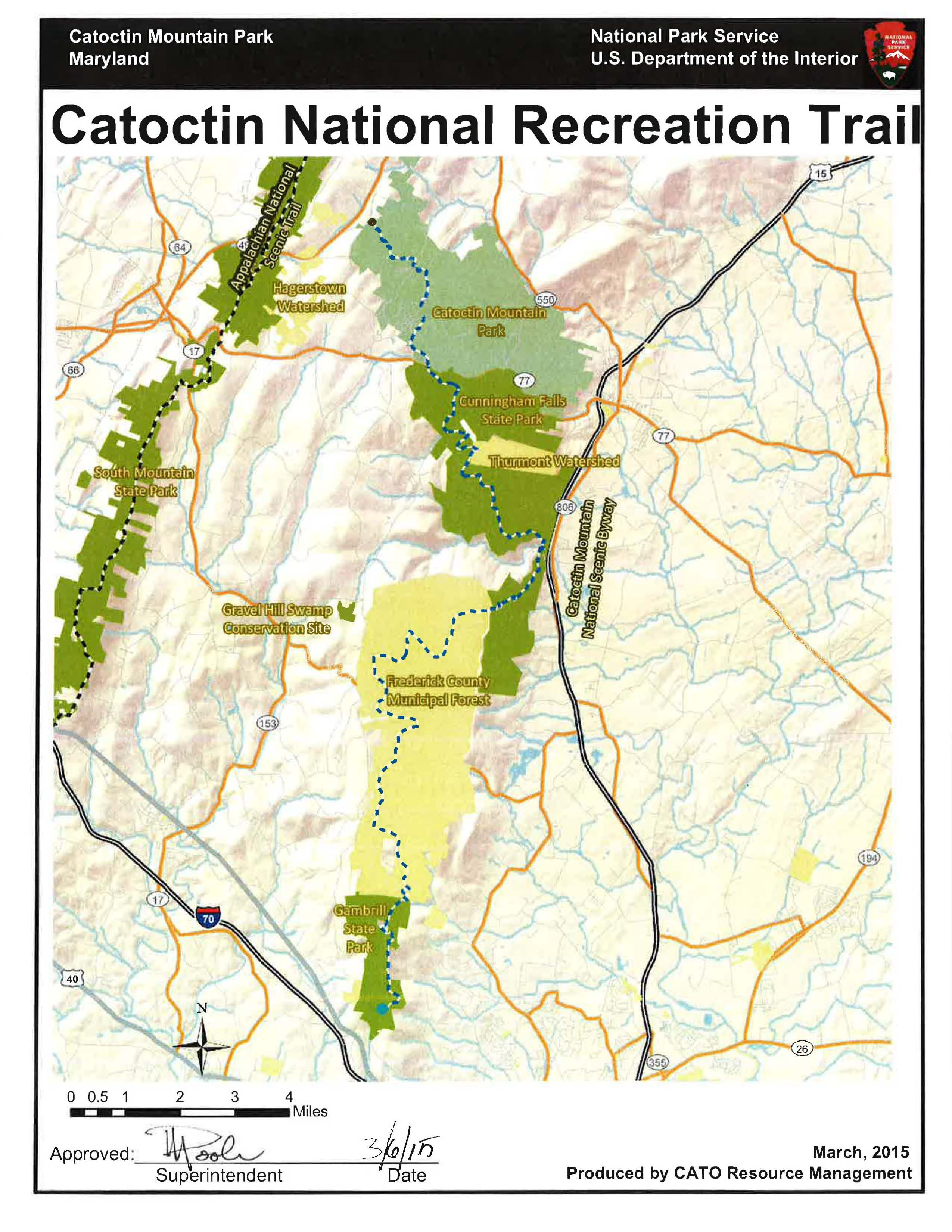 Catoctin National Recreation Trail Catoctin Mountain Park US - Eastern us mountain ranges map