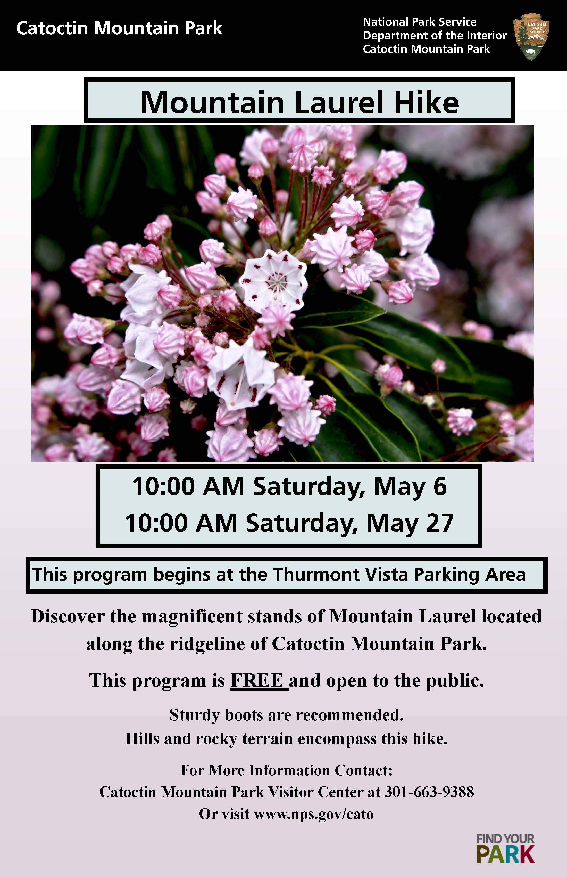 Image of May 2017 Mountain Laurel hike poster