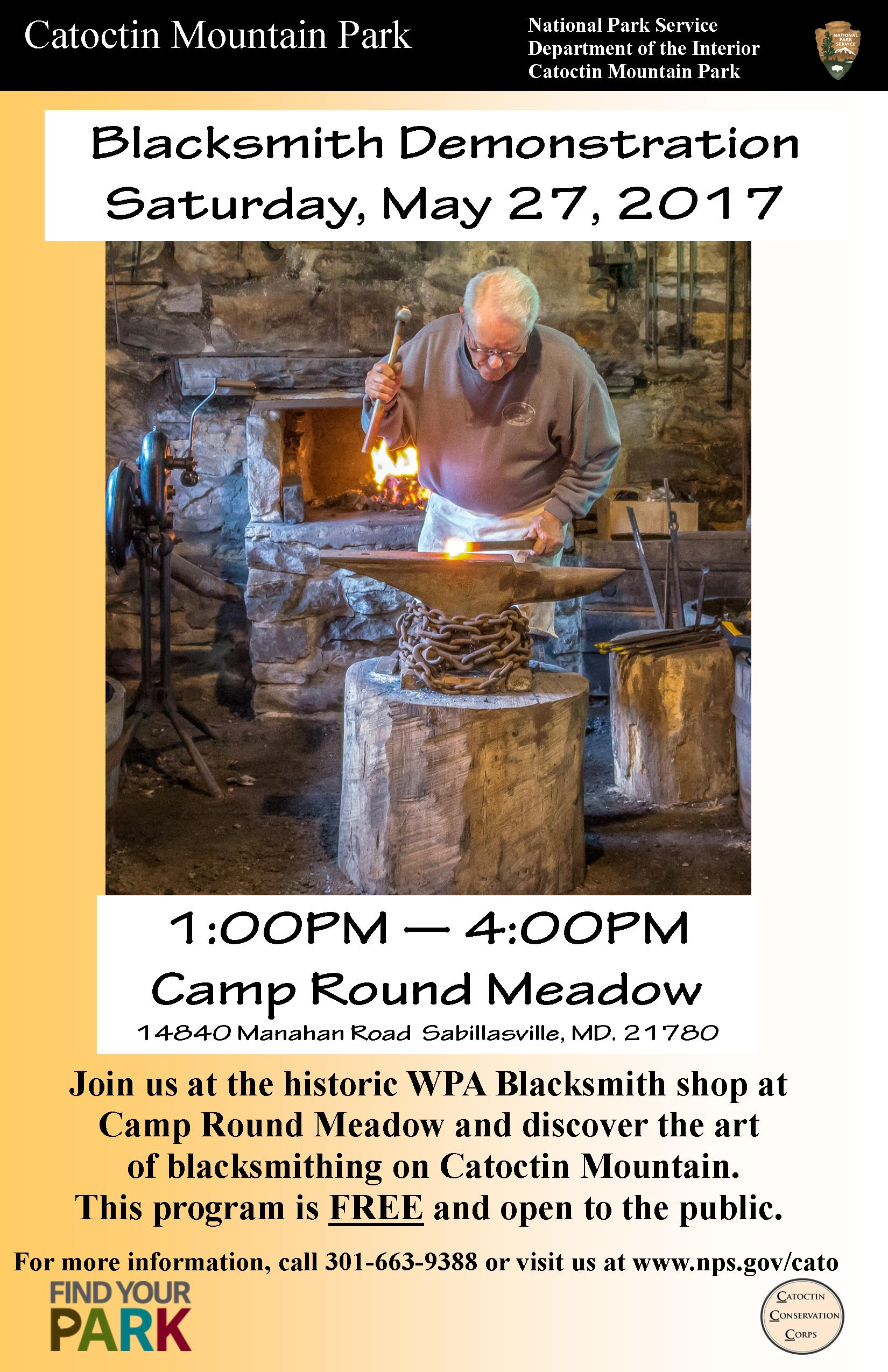 Image of May 27 Blacksmith Demonstration Poster