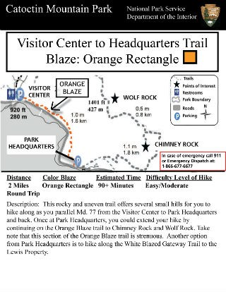 Image of VC to Park Headquarters Hiking Guide - Click to Enlarge