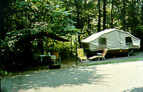 Pop-up trailer at Owens Creek Campground.