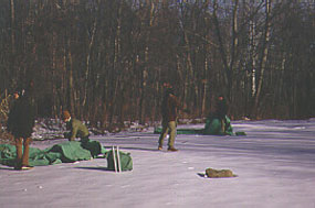 Poplar Grove campsite in winter