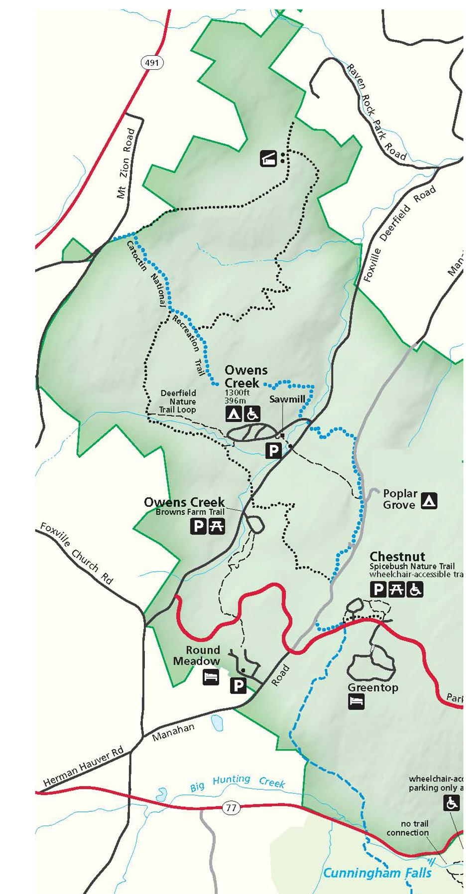Image of Map of West Side Trails  - Click to View West Side Trails Page