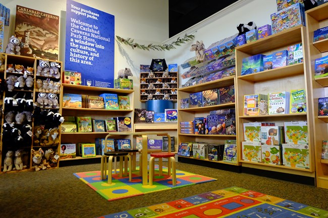 Photo of the children's area and books at the Western National Parks Association store.