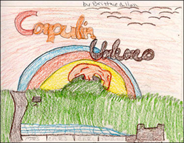 Child's crayon drawing of Capulin Volcano with a rainbow.