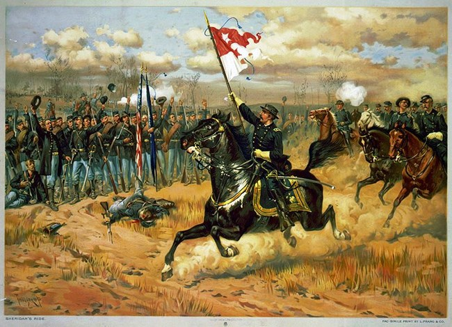 Gen. Philip H. Sheridan making his famous ride from Winchester. Sheridan's Ride by Thure de Thulstrup