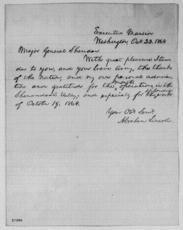Lincoln letter to Sheridan Oct. 22 1864
