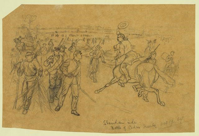 Sketch by Alfred A. Waud Sheridan's Ride. Battle of Cedar Creek