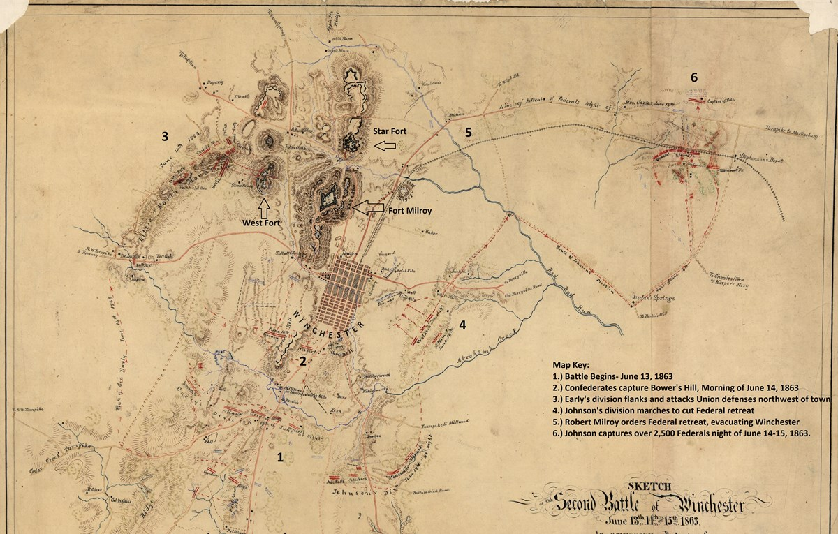 Map showing roads, town, and army movement