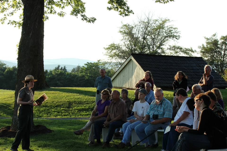 Ranger Shannon presenting Lost Generation program to a crowd at Belle Grove Plantation