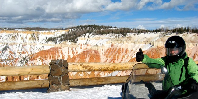 Snowmobiling at Cedar Breaks