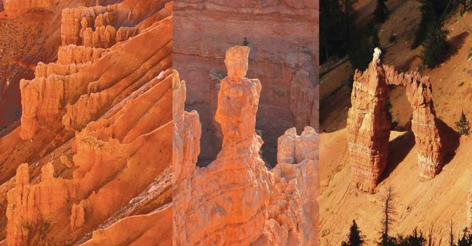 Photos of red rock Fin, hoodo and arch