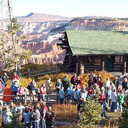 Crowd of children gathered in front of the Cedar Breaks Information Center.
