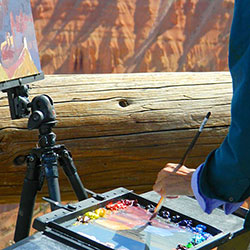 Plein air painter demonstrating on the rim of Cedar Breaks.