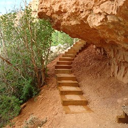 Trail steps under a cliff overhang.