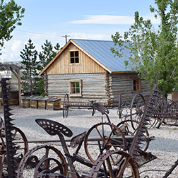 Pioneer cabin with wagon wheels