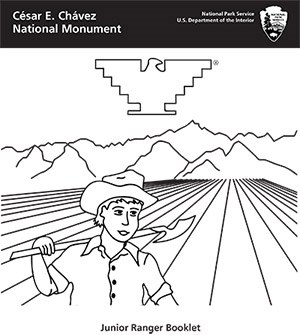 The cover of the junior ranger activity book showing a drawing of a man walking through fields