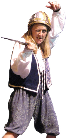 OFTC's Layle Chambers in character with sword and helmet.