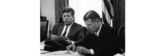 image of JFK and U.S. Secretary of Defense Robert McNamara during the Cuban Missile Crisis.