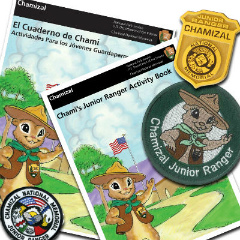 English and Spanish junior ranger booklet covers, badge, patch