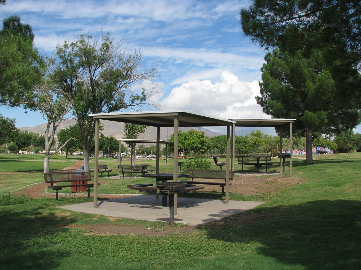 Three picnic tables with cover and grills.