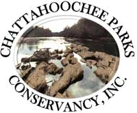 Chattahoochee Parks Conservancy logo includes the name of the organization and a photograph of rocks and the Chattahoochee River.