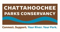 Graphic representation of blue river & brown shore. Wording includes Chattahoochee Parks Conservancy Connect. Support. Your River. Your Park.