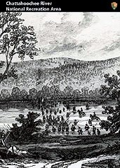 Historical black and white photograph of troops fording the Chattahoochee at Roswell.