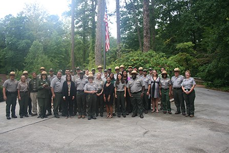 Group photograph of park staff at Island Ford.
