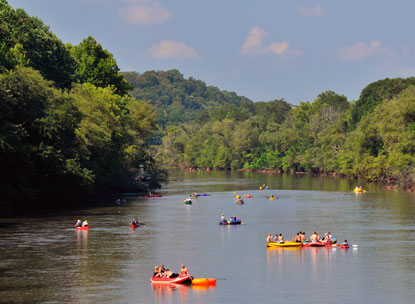 Summer Splash participants floating down the Chattahoochee River.