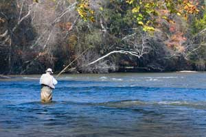 Enjoying a day of fishing on the Chattahoochee River.