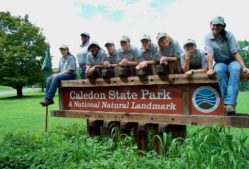 A Chesapeake Youth Corps crew from Virginia Department of Conservation and Recreation poses at Caledon State Park