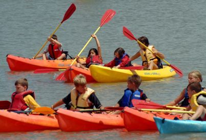 Kids learn to paddle on the Gunpowder River