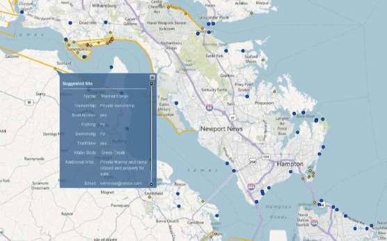 Screenshot of the Chesapeake Bay Public Access mapping tool