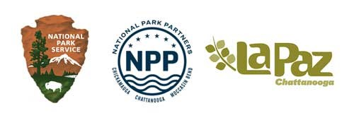 Logos the NPS, National Park Partners, and La Paz Chattanooga